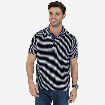 Classic Fit Striped Polo Shirt - Navy
