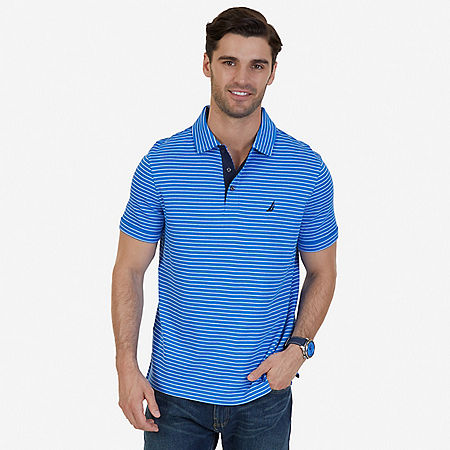Classic Fit Striped Polo Shirt - True Navy
