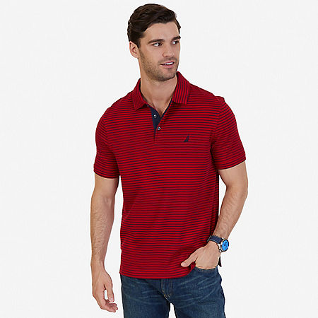 Classic Fit Striped Polo Shirt - Nautica Red