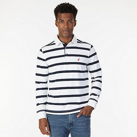 Classic Fit Striped Long Sleeve Polo Shirt - Bright White