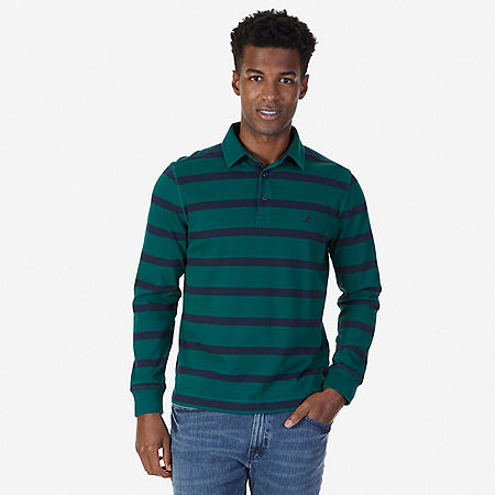 Classic Fit Striped Long Sleeve Polo Shirt - Cosmic Fern