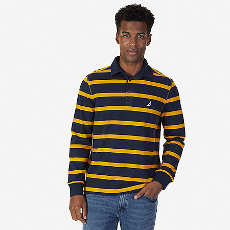 Classic Fit Striped Long Sleeve Polo Shirt - Light Aqua