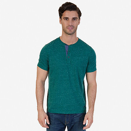 Slim Fit Henley Shirt - Cosmic Fern