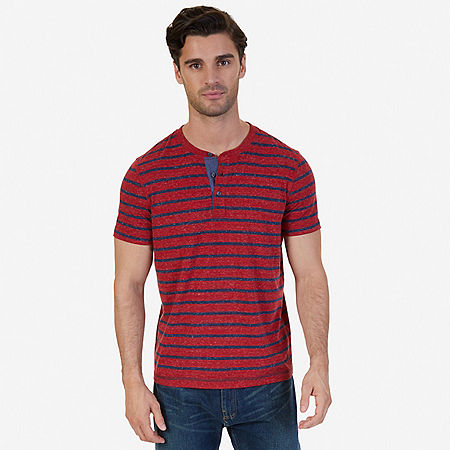 Slim Fit Striped Henley Shirt - Nautica Red