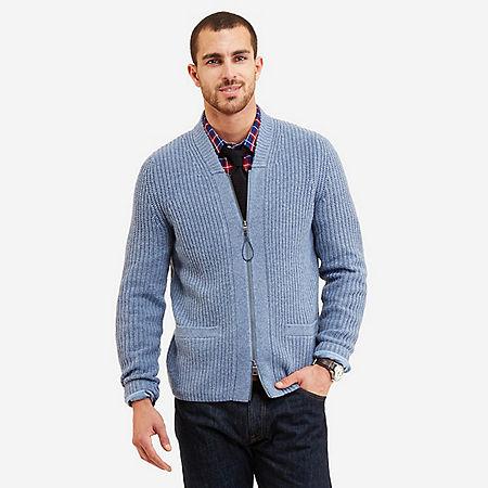 Full Zip Shawl Collar Cardigan - Delphinium Blue