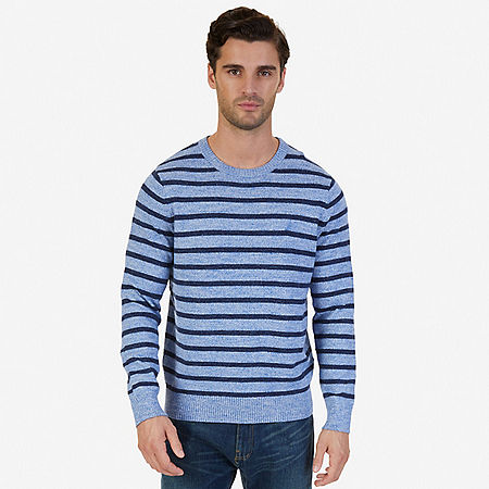 Snowy Striped Sweater - Clear Skies Blue