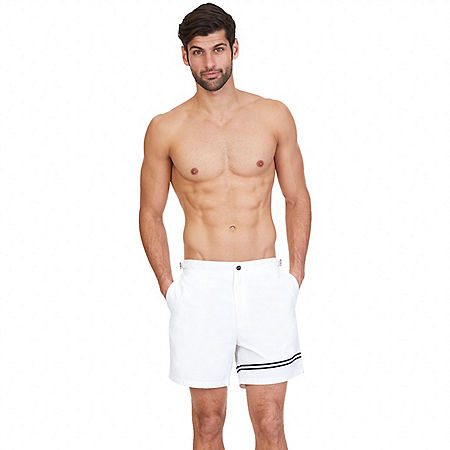 Quick Dry Contrast Stripe Swim Trunk - Bright White