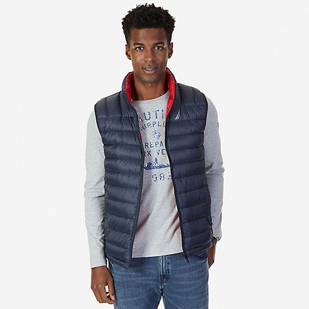 Down Reversible Vest - Navy