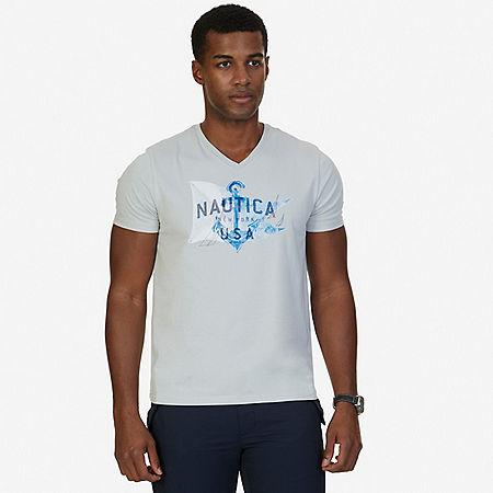 Anchor V-Neck T-Shirt - Grey Violet