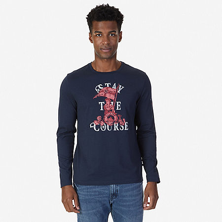 Stay the Course Graphic Long Sleeve T-Shirt - True Navy