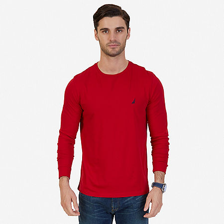 Solid Crew-Neck Long Sleeve T-Shirt - Nautica Red