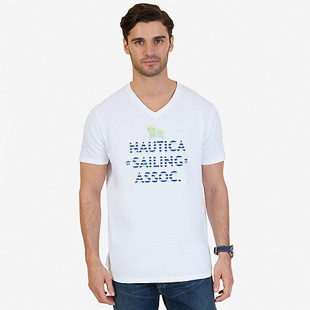 Sailing School Graphic V-Neck T-Shirt - Bright White