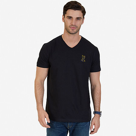 Signature Graphic V-Neck T-Shirt - True Black