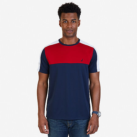 Color Block Wicking T-Shirt - Navy