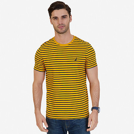 Striped Crew-Neck T-Shirt - Light Aqua