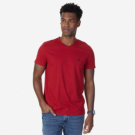 Striped V-Neck T-Shirt - Nautica Red