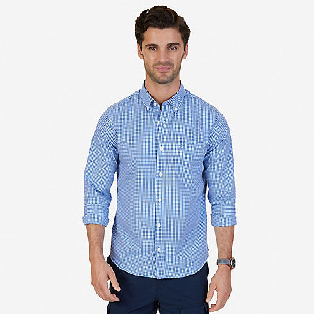 Slim Fit Wrinkle Resistant Plaid Shirt - Indigo Heather
