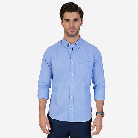 Classic Fit Wrinkle Resistant Micro Check Shirt - French Blue