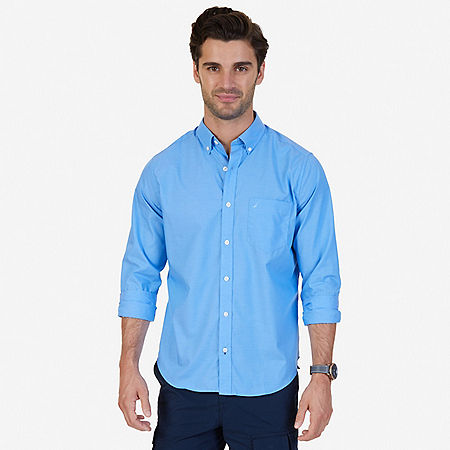 Classic Fit Wrinkle Resistant Solid Shirt - Indigo Heather