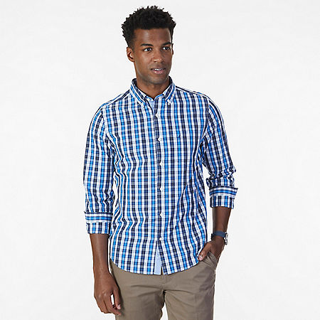Slim Fit Navy Plaid Shirt - J Navy