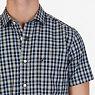 Classic Fit Wrinkle Resistant Seashore Plaid Short Sleeve Shirt,True Black,small
