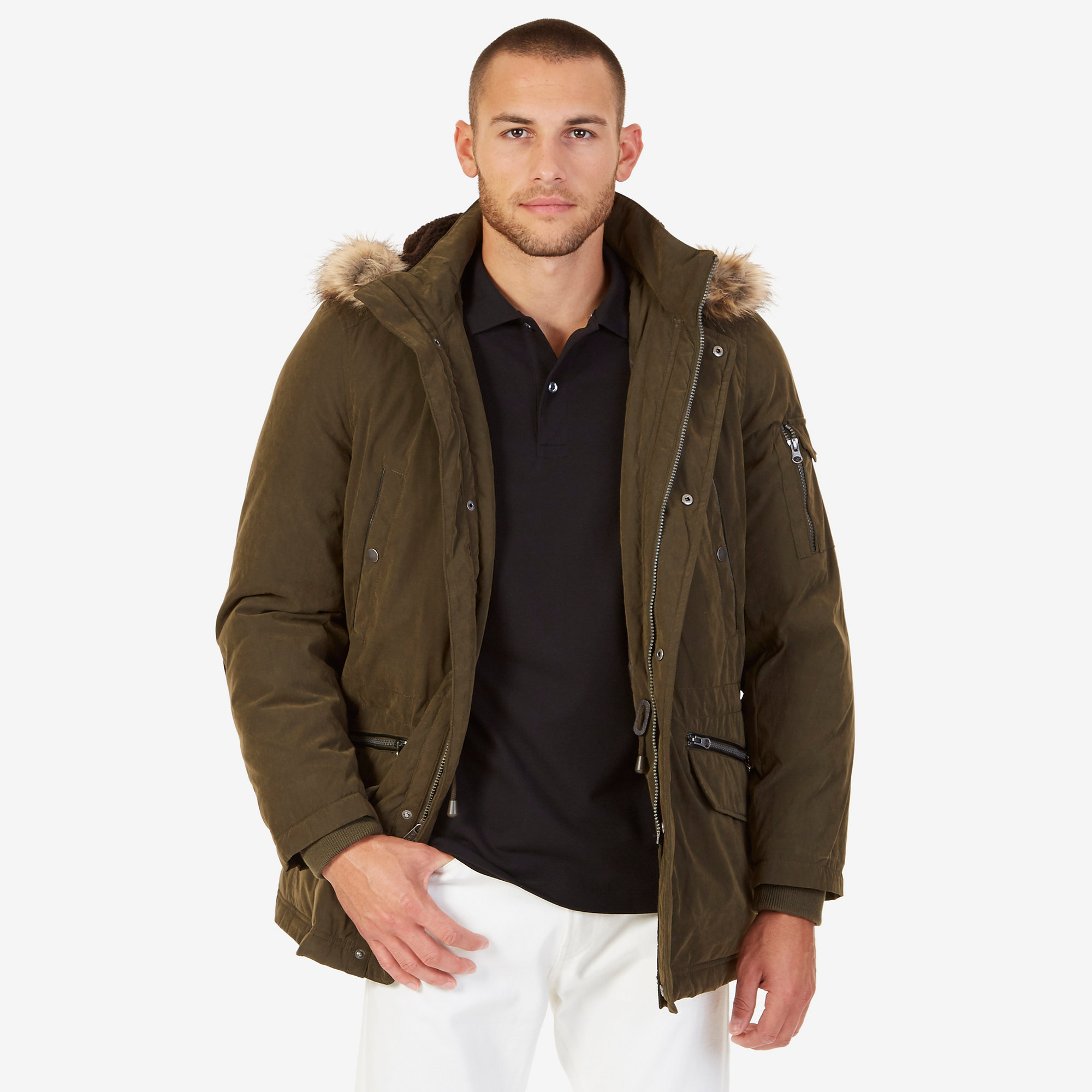 Nautica Mens Faux Fur Trimmed Hooded Coat