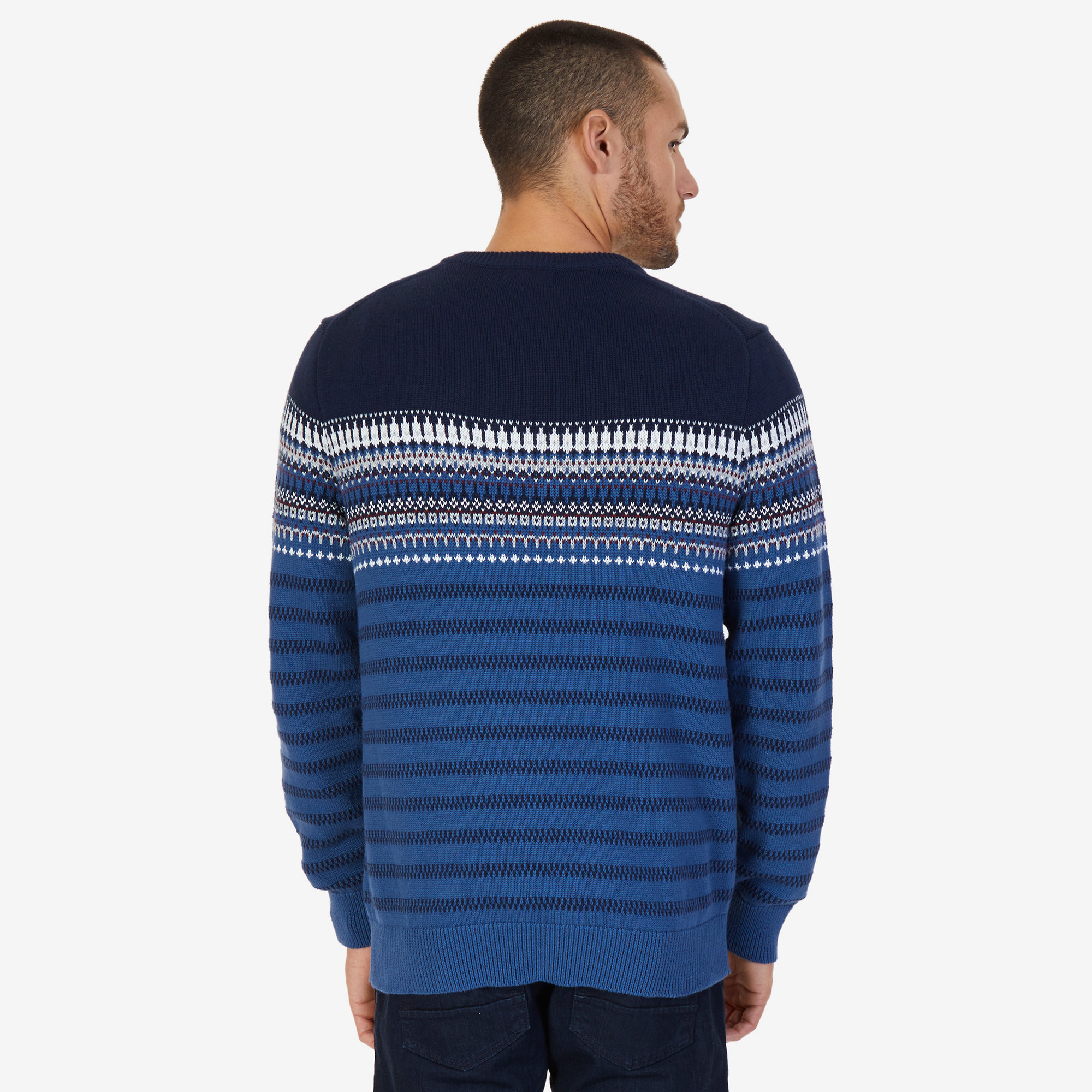 Colorblock Fair Isle V-Neck Sweater | Nautica