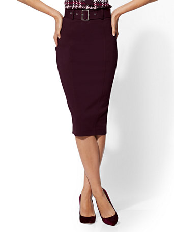 7th Avenue   Belted Pencil Skirt   All Season Stretch by New York & Company
