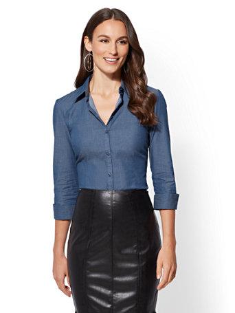 7th Avenue   Blue 3/4 Sleeve Madison Stretch Shirt by New York & Company