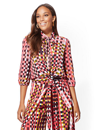 7th Avenue   Check Print Bow Accent Twist Front Blouse by New York & Company