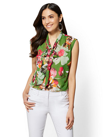 7th Avenue   Floral Bow Blouse by New York & Company