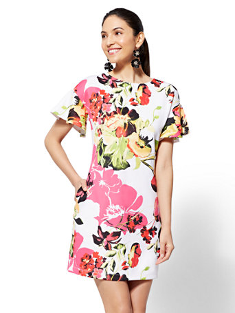 7th Avenue - Floral Flounced-Sleeve Shift Dress | Tuggl