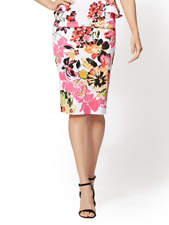 7th Avenue   Floral Pull On Pencil Skirt by New York & Company