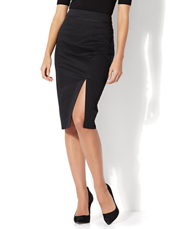 NY&C: 7th Avenue - Front Slit Pencil Skirt - Modern - Black