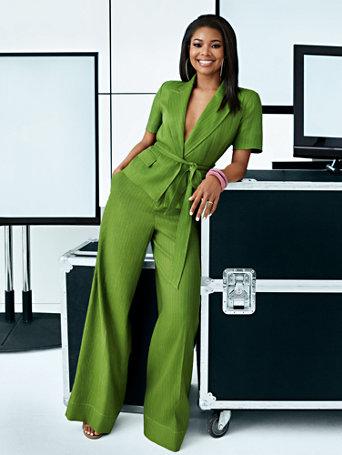 7th Avenue   Green Pinstripe Linen Jacket by New York & Company