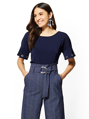 7th Avenue   Grommet Accent Ruffled Sleeve Top by New York & Company