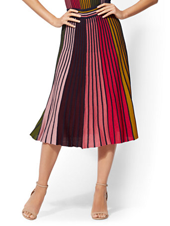 7th Avenue   Multicolor Stripe Pleated Sweater Skirt by New York & Company