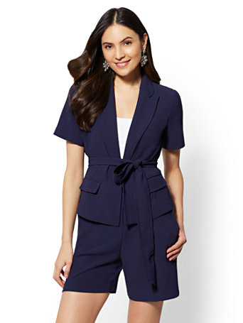 7th Avenue Navy Open  Front Jacket by New York & Company