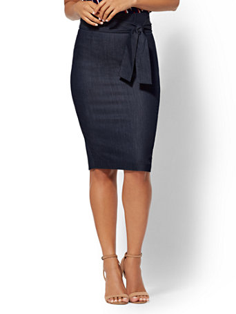 7th Avenue   Navy Paperbag Waist Pencil Skirt by New York & Company