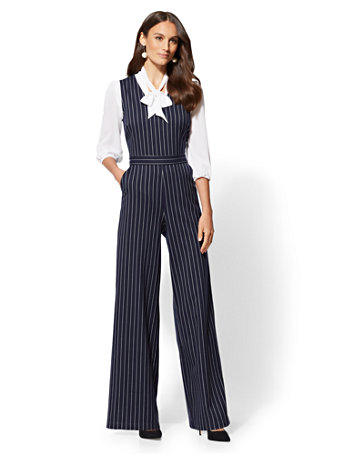 7th Avenue   Navy Pinstripe Jumpsuit by New York & Company