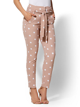 7th Avenue Pant   Dot Print Paperbag Waist Slim by New York & Company