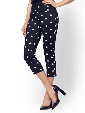 7th Avenue Pant   Navy Dot Print Crop Slim Leg   Signature by New York & Company