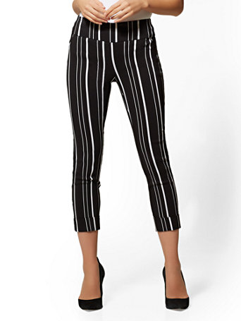 7th Avenue Pant - Striped High-Waist Pull-On Crop | Tuggl