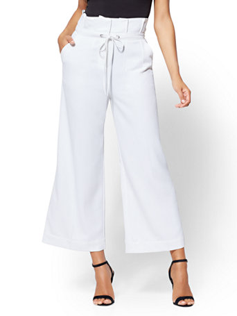 7th Avenue Pant - Tall White Paperbag-Waist Culotte | Tuggl