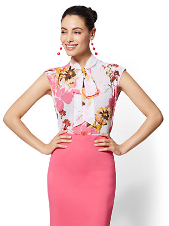 7th Avenue   Petite Floral Bow Blouse by New York & Company