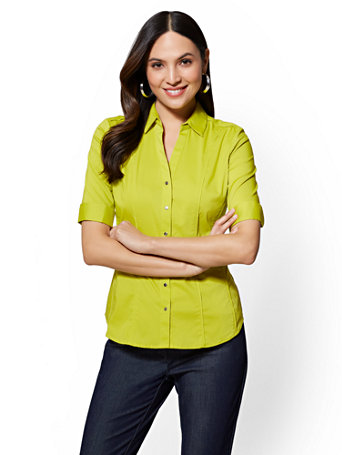 7th Avenue   Petite Piped Madison Stretch Shirt by New York & Company