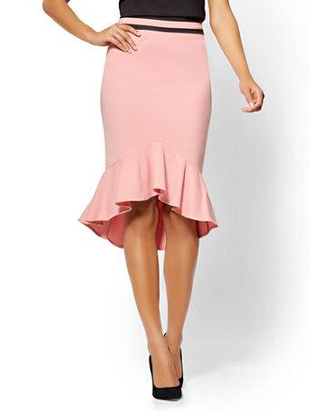 7th Avenue Pink Flounced Pencil Skirt   All Season Stretch by New York & Company