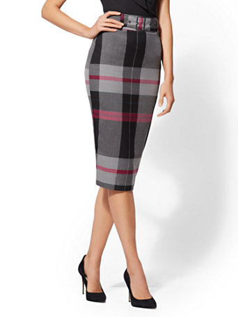7th Avenue   Plaid Belted Pencil Skirt by New York & Company
