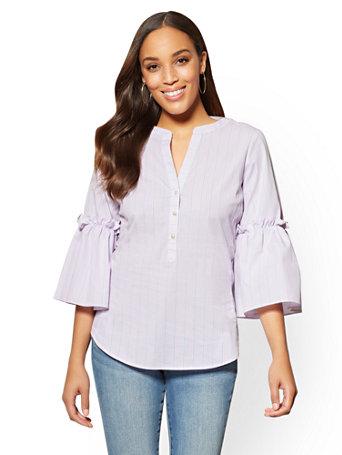 7th Avenue   Popover Madison Stretch Shirt   Stripe by New York & Company