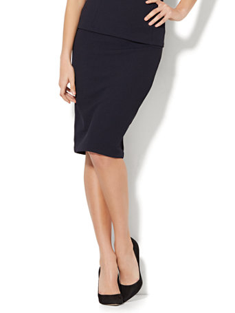 NY&C: 7th Avenue - Pull-On Pencil Skirt - Navy